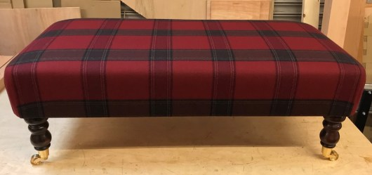 Callanish Check Claret Footstool